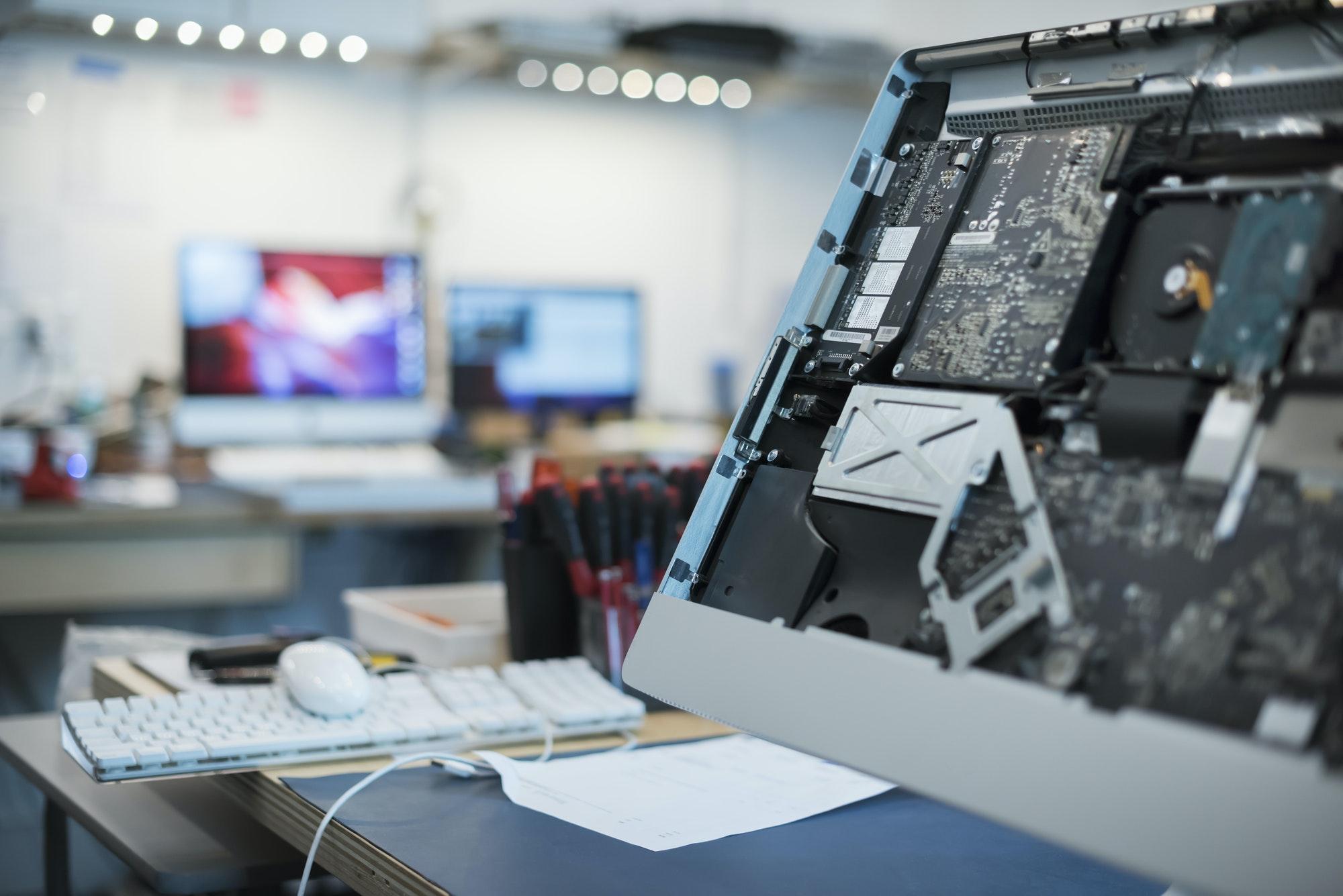 Computer Repair Shop. Circuit boards and computer parts.